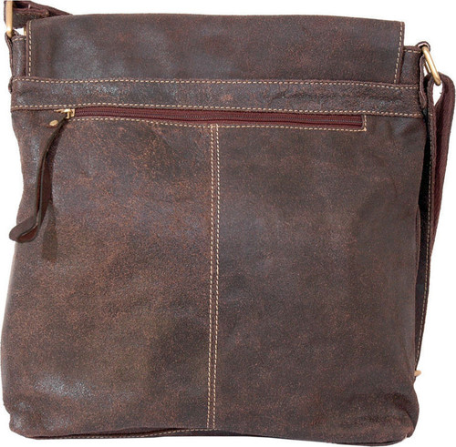 Woodland Leathers Brown Leather Crumple Upright Messenger Bag