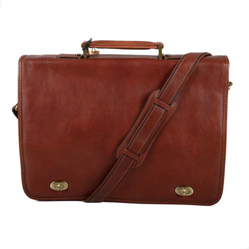Katana 2 Section Brown Soft Calf Hide Leather Messenger Bag