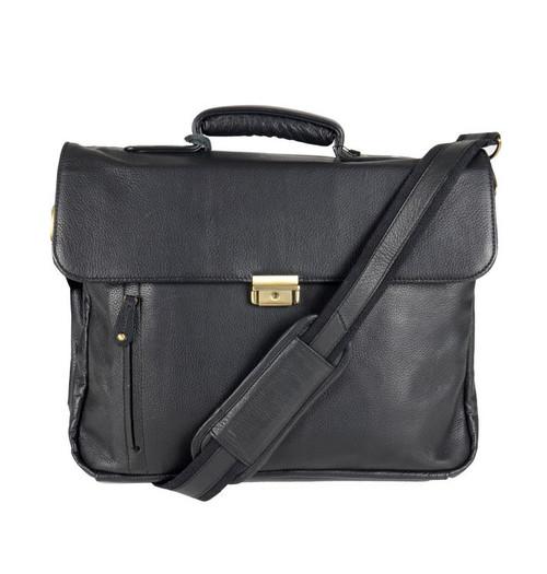 Cortez Colombian Leather Half Flap Briefcase