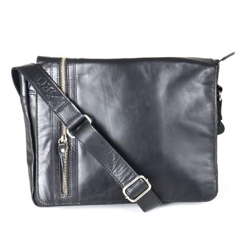 Rowallan Pittsburgh Flip Over Leather Messenger Bag