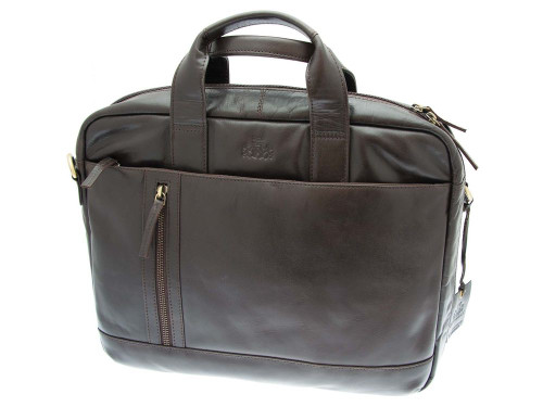 Rowallan Pittsburgh Business Small Brown Leather Twin Handled Briefcase