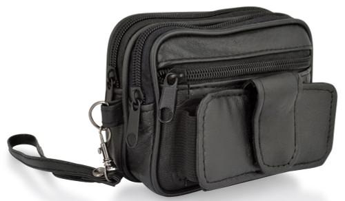 Woodland Leathers Black Leather Phone Pocket Belt Bag