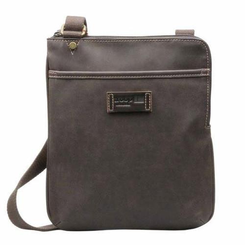 Troop Dark Brown Faux Leather Across Body Bag