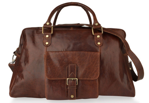 Woodland Leathers Brown Mahogany Leather Holdall