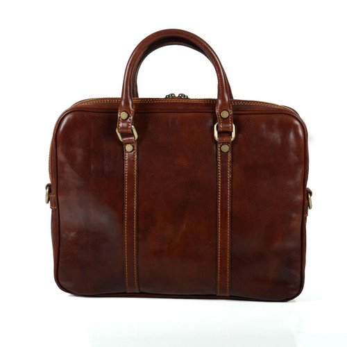 Delamore Brown Leather Twin Handle Briefcase