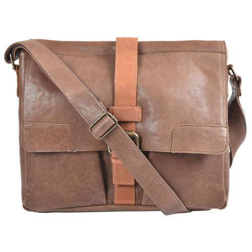 Ashwood Brown Leather Cyrus Messenger Bag