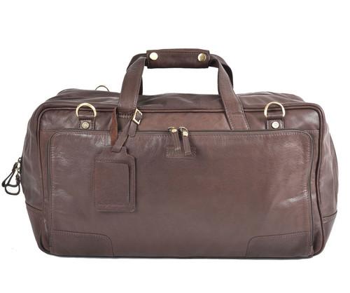 Prime Hide Elpaso Brown Leather Weekender