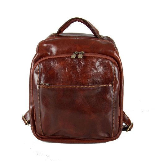 Delamore Brown Luxury Leather Laptop Backpack