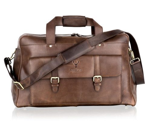 Woodland Leathers Brown Leather Weekend Holdall