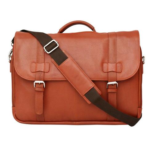 Felda Firenze Cognac Leather RFID Flap Over Briefcase