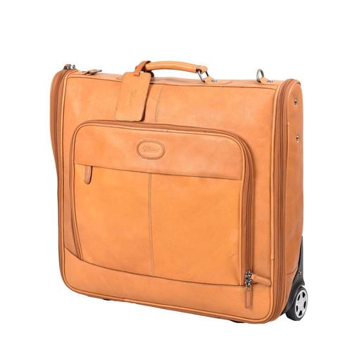 Ashwood Mayfair Wheeled Leather Tan Suit Carrier