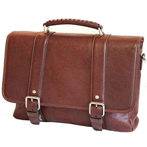 Tony Perotti Leather Clip Close Brown Satchel