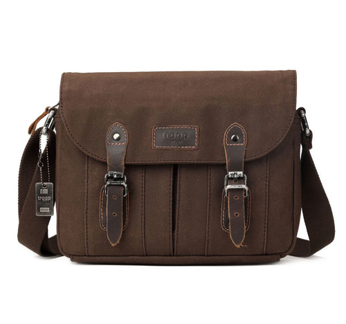 Troop London Heritage Brown Canvas Tablet Sized Messenger Bag