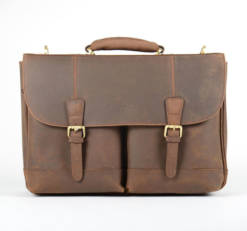 Ashwood Brown Leather Double Pocket Briefcase