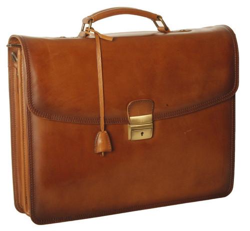 Ashwood Dorchester Orlando Single Lock Tan Leather Briefcase