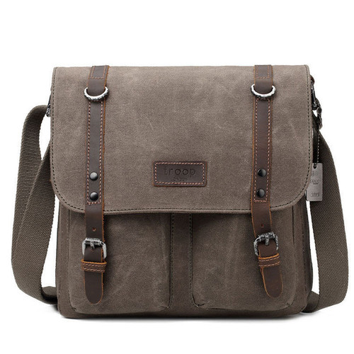 Troop Heritage Canvas Leather Brown Satchel Messenger Bag
