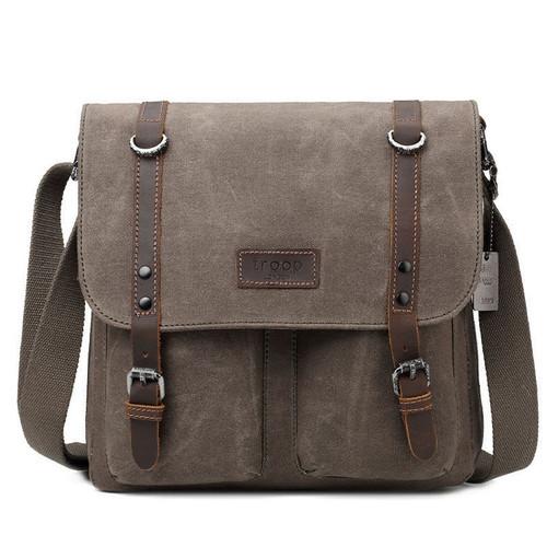 Troop Heritage Canvas Leather Brown Satchel Messenger Bag