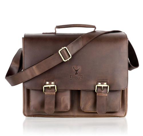 Woodland Leathers Brown Leather Double Pocket Briefcase