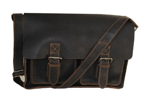 Rowallan Crafstman Large Brown Leather Satchel Twin Front