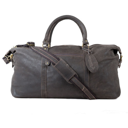 Woodland Leathers Brown Distressed Leather Crumple Holdall