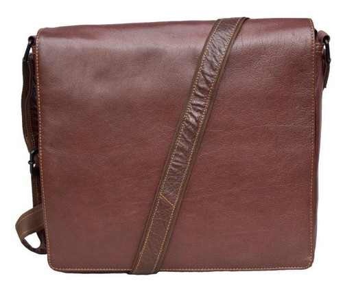 Woodland Leather's Tribal Brown Buffalo Leather Messenger Bag