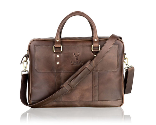 Woodland Leathers Brown Leather Compact Briefcase