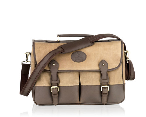 Woodland Leathers Canvas Two Toned Messenger