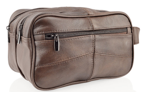 Woodland Leathers Stitch Soft Brown Leather Wash Bag
