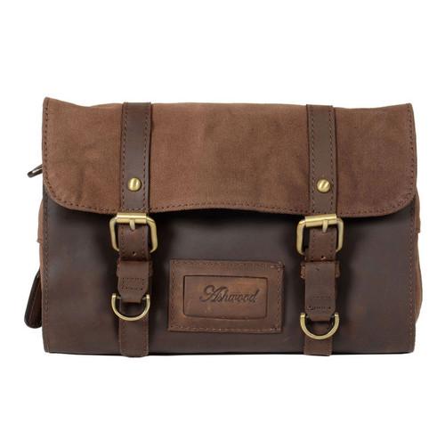 Ashwood Brown Leather Fold Out Wash Bag