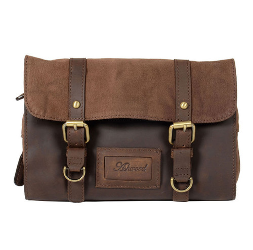 Ashwood Brown Leather Fold Out Wash Bag