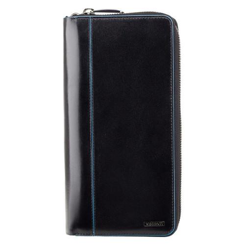 Visconti Alfred Italian RFID Black Leather Travel Wallet