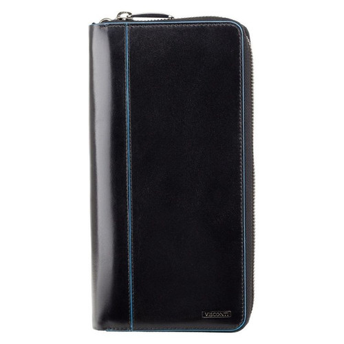 Visconti Alfred Italian RFID Black Leather Travel Wallet