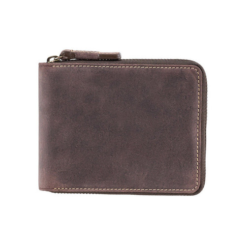 Visconti Bullet Oil Zip Brown Leather Wallet