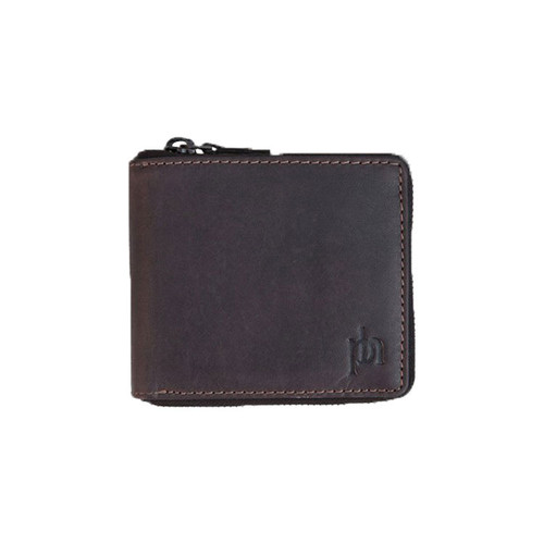 Prime Hide Compact RFID Blocking Brown Leather Zip Wallet