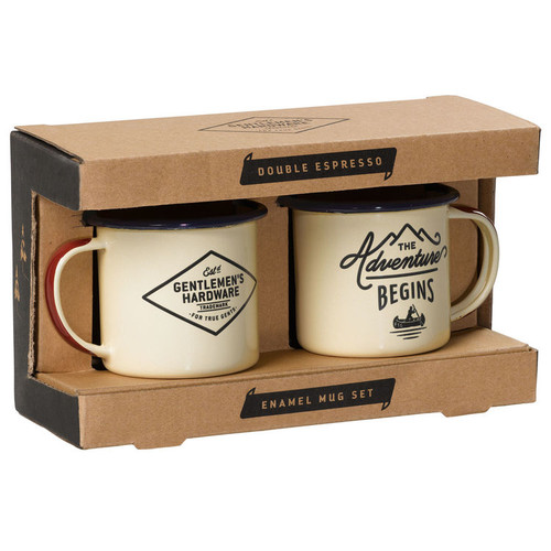 Wild & Wolf 'The Adventure Begins' Cream Enamel Espresso Set