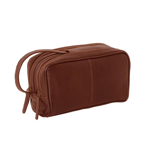 Ashwood Chelsea Dual Zip Chestnut Leather Wash Bag