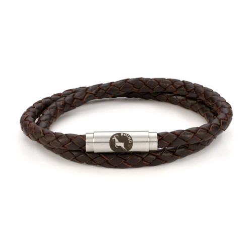 Boing Brown Leather Double Wrap Stainless Steel Bracelet