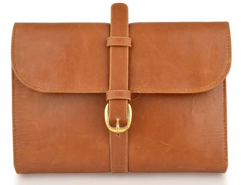 Woodland Leathers Tan Buckle Wash Bag
