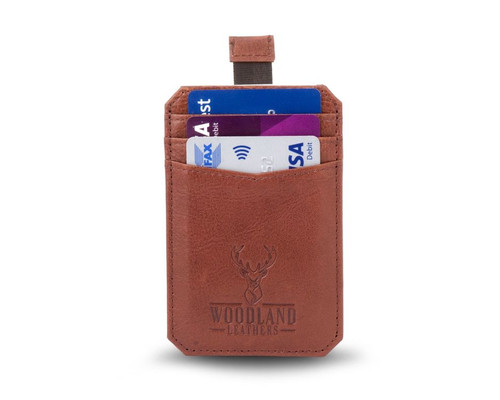 Woodland Leathers Tan Leather Credit Card Sleeve