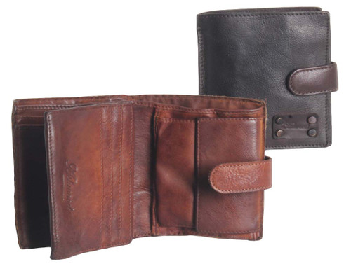 Ashwood Vintage Dipped 3 Card Bill Fold Brown Leather Wallet