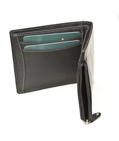 Prime Hide RFID Blocking Side Black Leather Zip Wallet