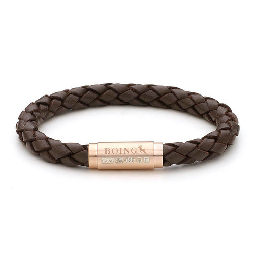 Boing Brown Middy Leather Rose Gold Clasp Bracelet