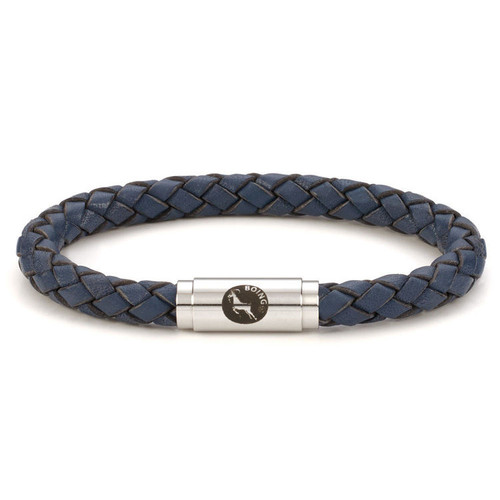 Boing Blue Middy Leather Stainless Steel Bracelet