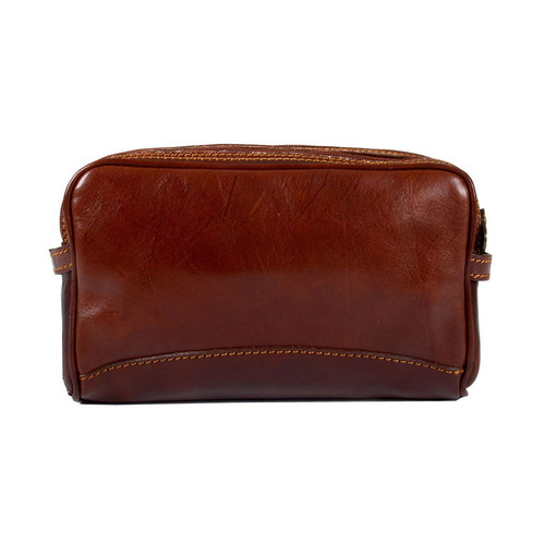 Delamore Brown Leather Double Zip Wash Bag