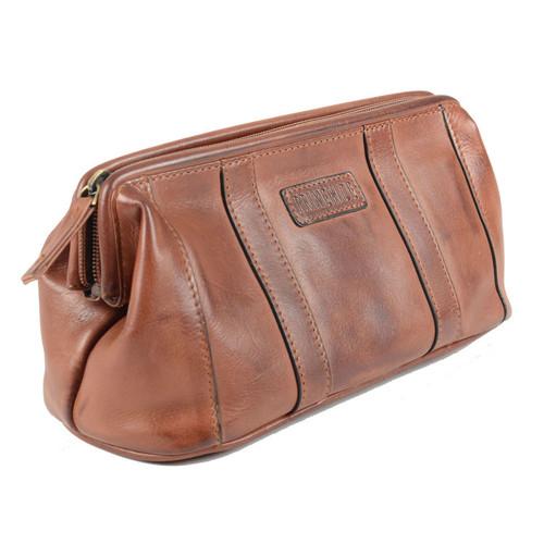 Prime Hide Ridgeback Brown Leather Toiletry Wash Bag