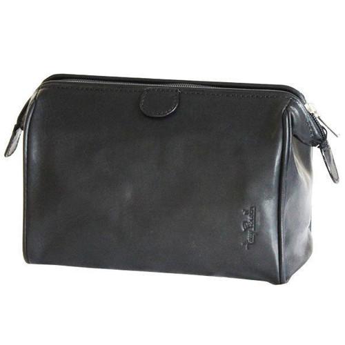 Tony Perotti Black Leather Classic Washbag