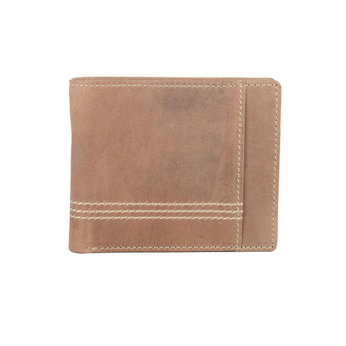 Woodland Leathers Brown Distressed Leather Stitch Wallet