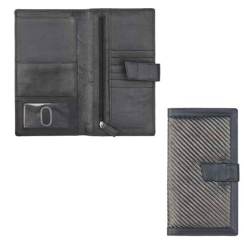 Prime Hide Mens Carbon Fibre RFID Travel Black Leather Clutch Wallet