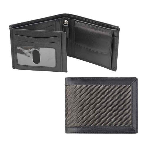 Prime Hide Mens Carbon Fibre RFID Black Wallet