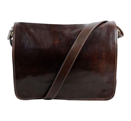 Delamore Dark Brown Leather Messenger Bag